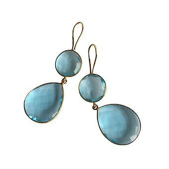 Gemshine - ladies - Orecchini - argento 925 - oro placcato - quarzo - topazio - blu - CANDY - goccia - 6cm