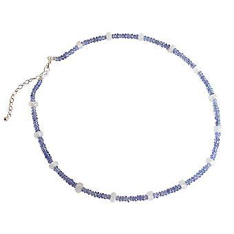 Gemshine - ladies - necklace - 925 Silver - tanzanite - blue - purple - Moonstone - white - faceted - 45 cm