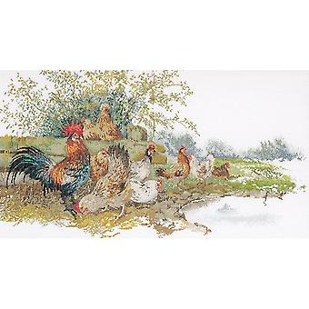 Chickens On Aida Counted Cross Stitch Kit-26.75