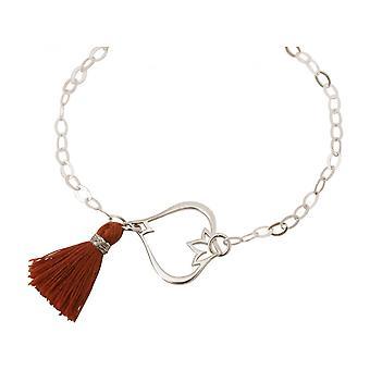 Damen - Armband - 925 Silber - Lotus Blume - Quaste - Rotbraun - YOGA
