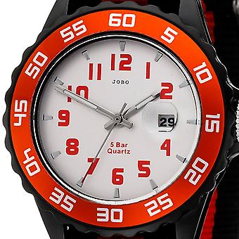 JOBO children wrist watch quartz analog black red children watch with date