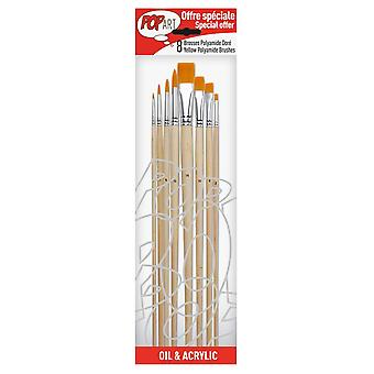 Pebeo Oil & Acrylic Yellow Polyamide Brushes 8 Pack