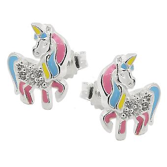 Plug 10x8mm mythical creatures horse with Horn cubic zirconia 925 Silver