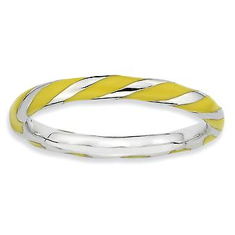Sterling Silver Polished Rhodium-plated Twisted Yellow Enameled 2.4 x 2.0mm Stackable Ring - Ring Size: 5 to 10