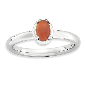 2.25mm Sterling Silver Prong set Rhodium-plated Stackable Expressions Red Agate Polished Ring - Ring Size: 5 to 10