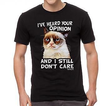 Negro gracioso camiseta gato gruñón opinión hombres