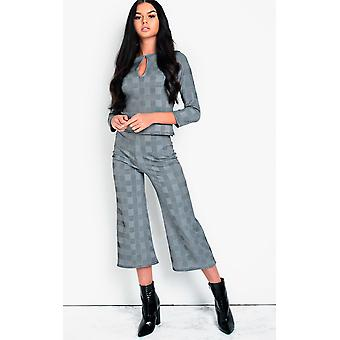 IKRUSH Womens Mellie Check Culotte High Waist Crop Co-ord
