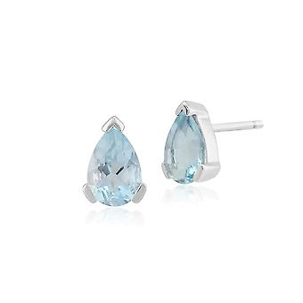 Gemondo 9ct White Gold 0.59ct Aquamarine Single Stone Pear Stud Earrings