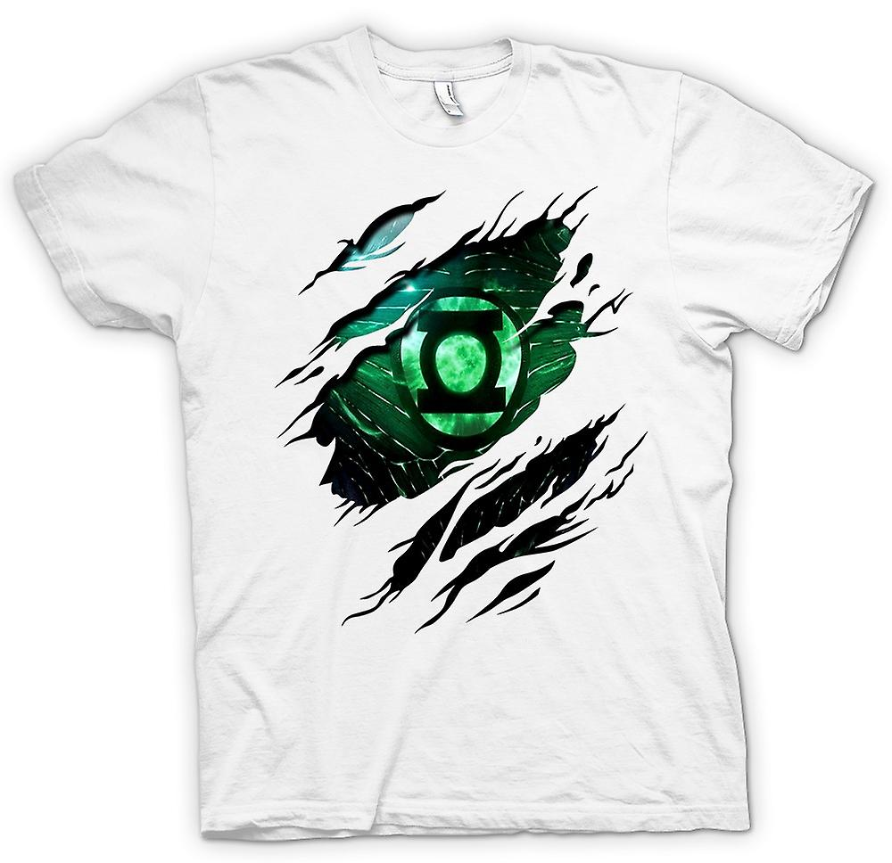 Womens T-shirt - The Green Lantern - Superhero Ripped Design