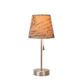 Lucide Yoko Cottage Round Linen Satin Chrome And Cream Table Lamp