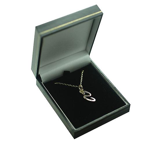 9ct Gold 26x11mm plain Initial S Pendant with a belcher Chain 16 inches Only Suitable for Children