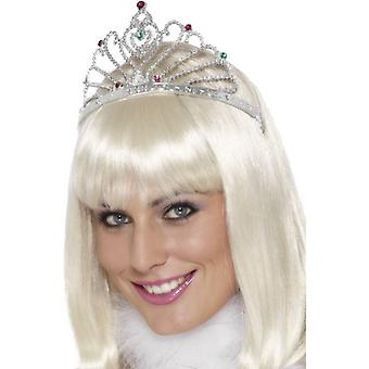 Womens Fan Design Silber Tiara Fancy Dress Zubehör
