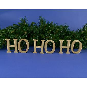 Medium 80mm Wooden MDF 'Ho Ho Ho' Christmas Letters to Decorate