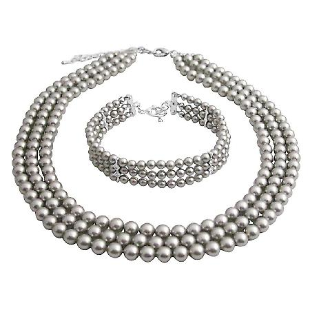 Intricate Customize Handmade Magnificient Lite Grey Pearls Jewelry