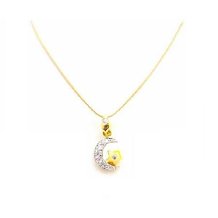 Half Moon & 18k Yellow Gold Star Pendant in Micron Gold Necklace