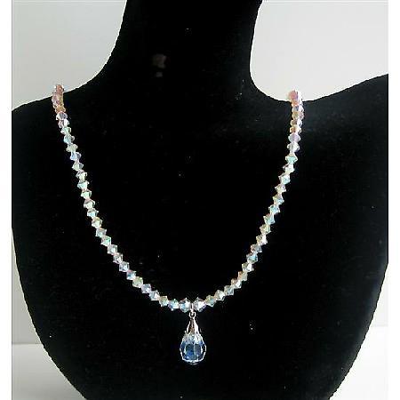 Crystals Swarovski AB 2X Necklace AB Crystal Teardrop Jewelry Necklace