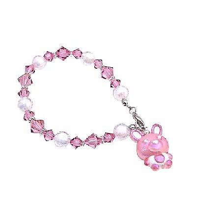 Vintage Easter Bunny Rabbit Bracelet Swarovski Rose Crystal Pink Charm
