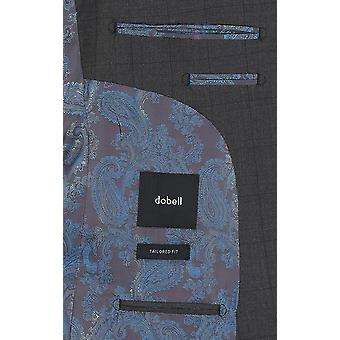 Dobell Mens Charcoal Suit Jacket Tailored Fit Peak Lapel Windowpane Check