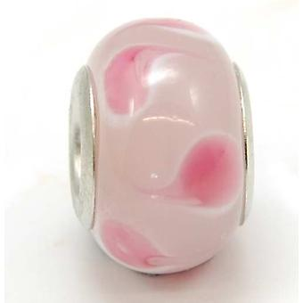 TOC BEADZ Pink Spot 7mm Glass Slide-On & Slide-Off Bead