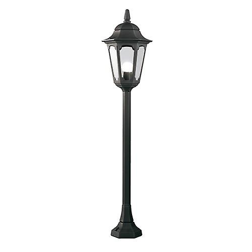 Elstead PR5 BLACK Parish Traditional Outdoor Pillar Lantern with Clear Glass Panel