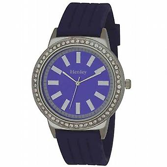 Henley Glamour Blue Silicone Strap Watch with Diamante Crystals H0838.6