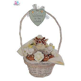 Unisex New Baby Gift Basket with Giraffe