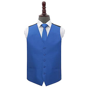 Royal Blue Shantung Wedding Waistcoat & Tie Set