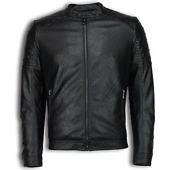 Faux leather jacket-leatherette Mens jacket-Biker jacket Ribbel Shoulder-Black