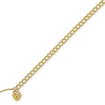 Jewelco London Ladies 9ct Yellow Gold 6mm Double Curb Charm Bracelet Heart Padlock