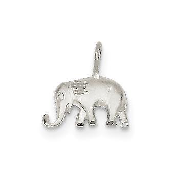 925 Sterling Silber Satin öffnen zurück Sparkle-Cut strukturierte wieder Elefant Anhänger - .9 Gramm
