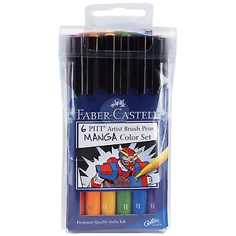 Manga Pitt Artist Brush Pens 6 Pkg Assorted Colors 167131