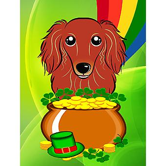 Longhair Red Dachshund St. Patrick's Day Flag Canvas House Size BB1958CHF