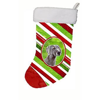 Weimaraner Candy Cane Holiday Christmas Christmas Stocking LH9251