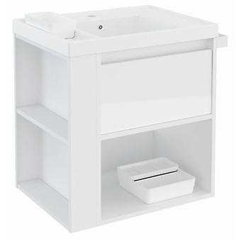 Bath+ 1 Drawer Cabinet + Shelf Basin Resin + White Gloss-White 60