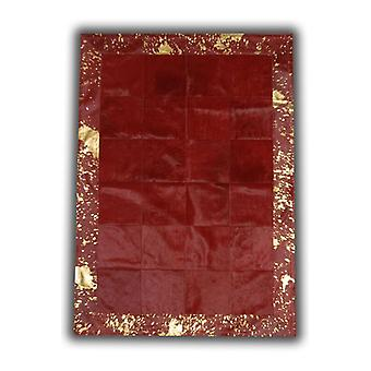 Rugs -Patchwork Leather Cubed Cowhide - Red with Acid Red Border