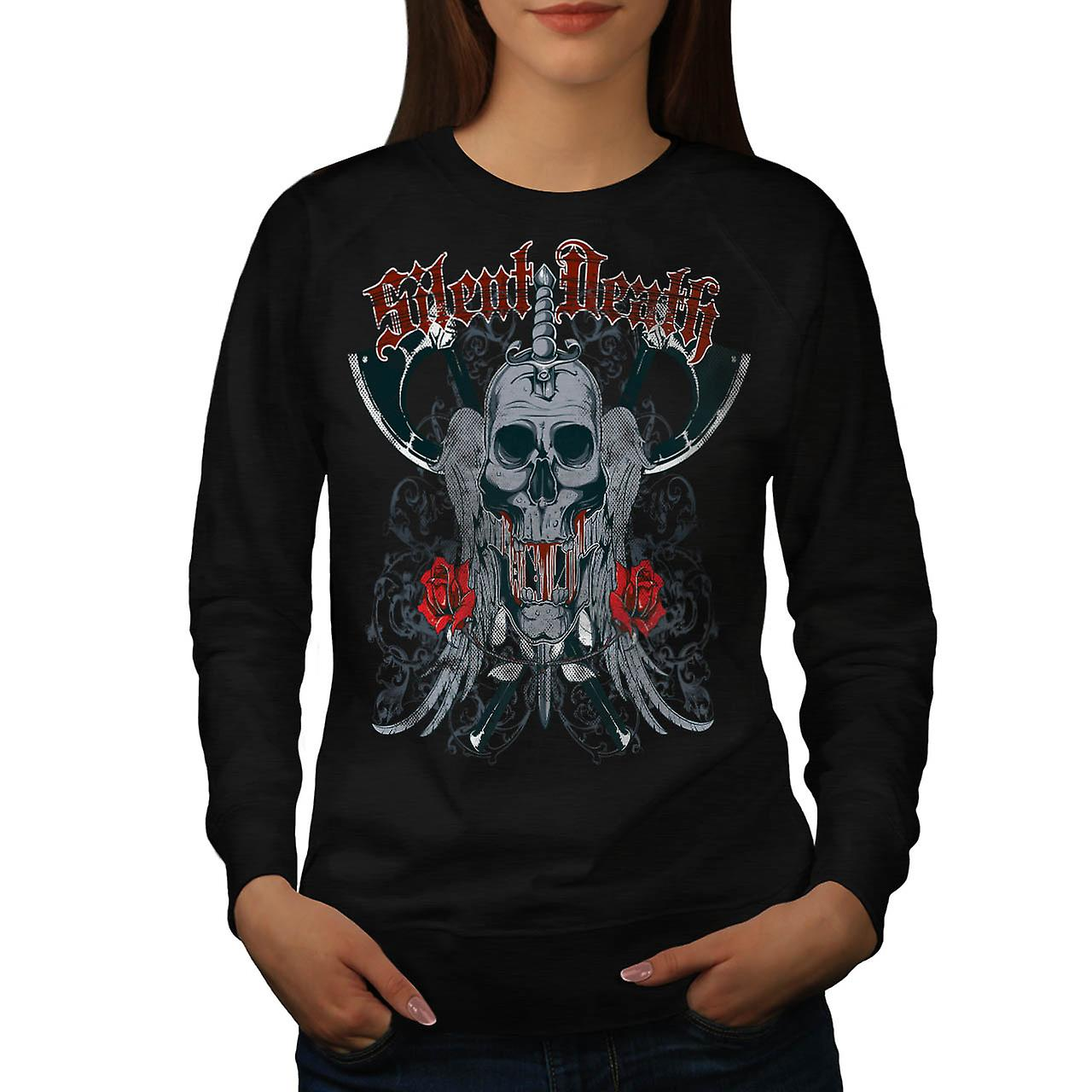 Silent Death Horror Skull Rage Women Black Sweatshirt | Wellcoda