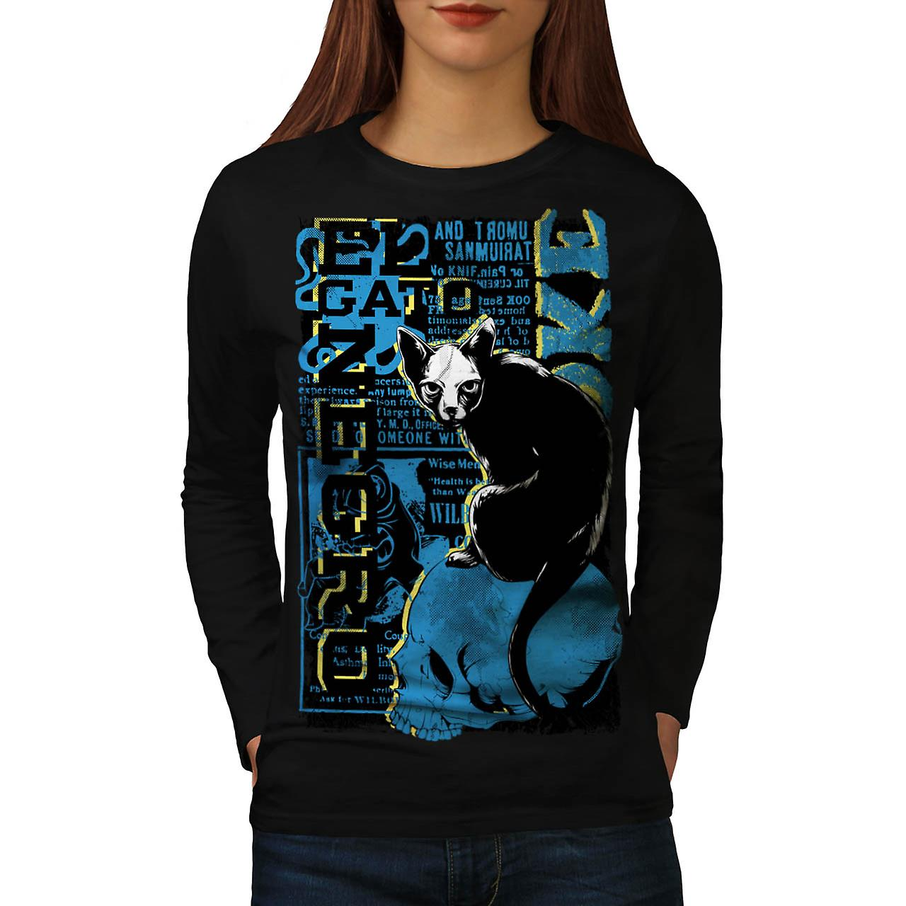 Gato Negro Black Cat Witch Pet Women Black Long Sleeve T-shirt | Wellcoda