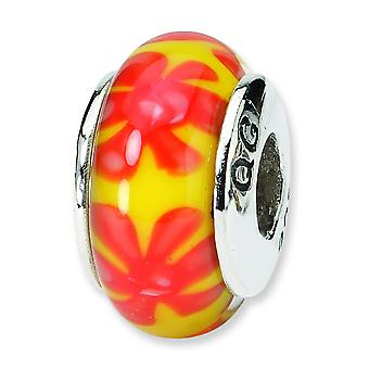 Sterling Silver Polished Antique finish Reflections Yellow Orange Murano Glass Bead Charm