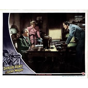 Sherlock Holmes And The Secret Weapon From Left Nigel Bruce Kaaren Verne Basil Rathbone 1943 Movie Poster Masterprint