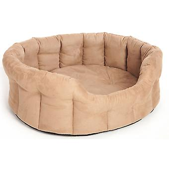 Premium Oval Drop Front Softee Bed Faux Suede Tan Size 4 61x51x22cm