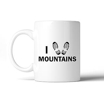I Heart Mountains Ceramic Coffee Mug 11oz Gift For Mountain Lovers