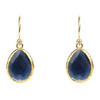 925 Sterling Silver Small Dangle Drop Gold Earring Navy Dark Blue Sapphire Hook
