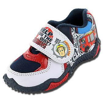 Boys Fireman Sam Cartoon Character Touch Panel Casual Trainer Shoe-61380