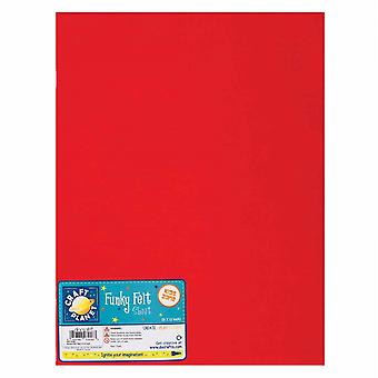 Craft Planet Funky Felt Sheet Red