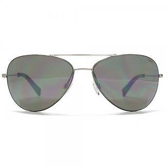 SUUNA Cancun Reverse Groove Aviator Sunglasses In Shiny Silver