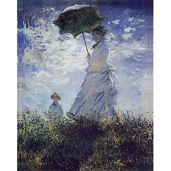Claude Monet - Women with umbrella (1875) Poster Print Giclee