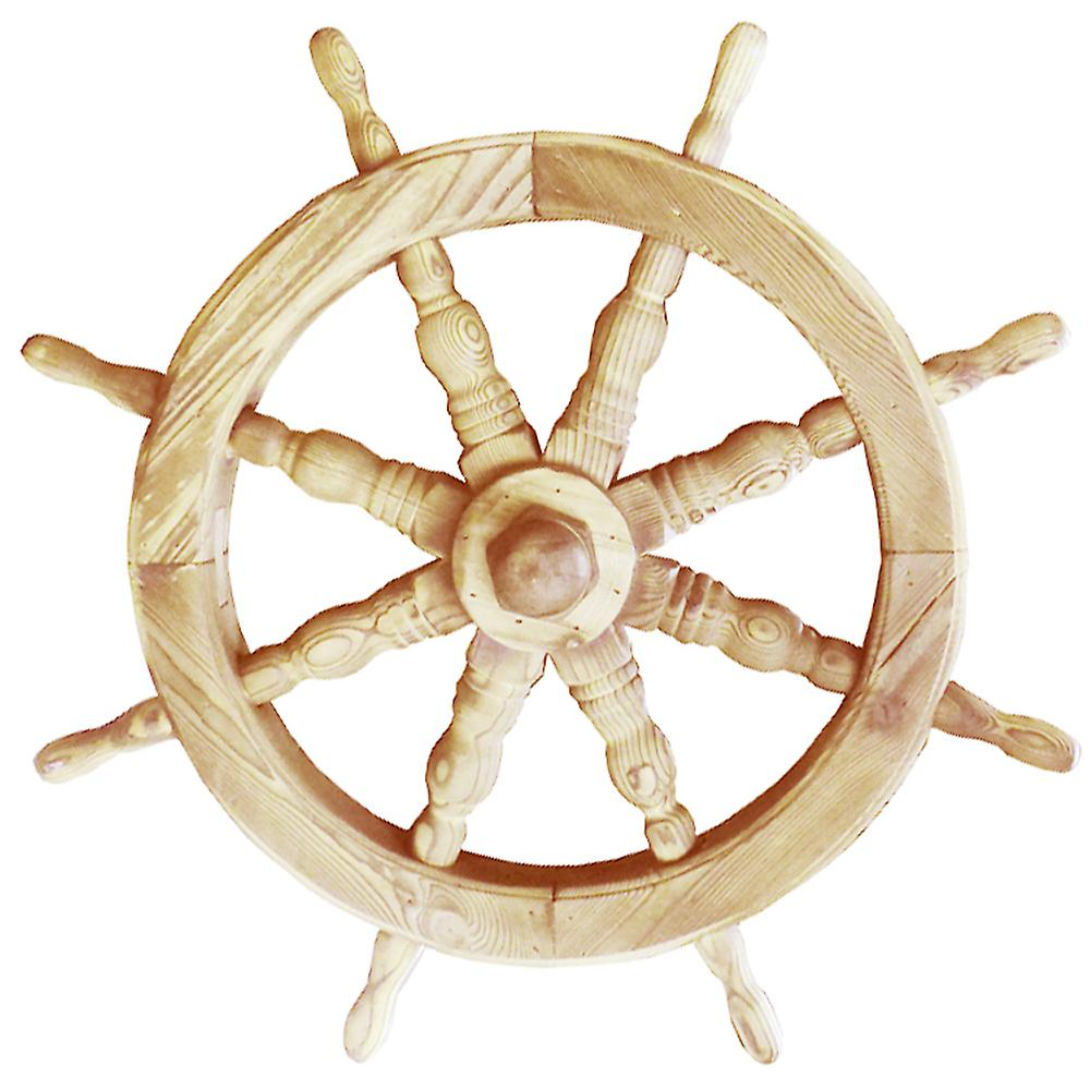 Ships Wheel - Solid Wood 53cm Nautical Garden Ornament - Natural
