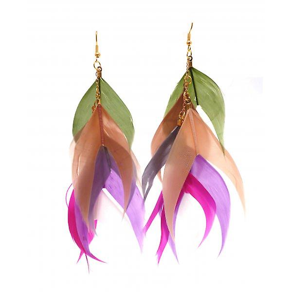 W.A.T Green And Pink Coloured Layered Feather Fishtail Shaped Earrings