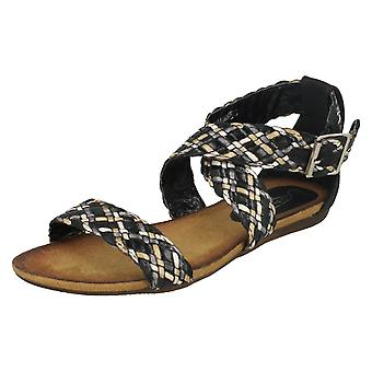 Ladies Spot On Flat Braided Sandals With Buckle Strap