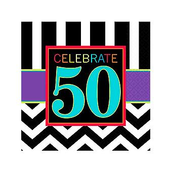 Happy Birthday Chevron Design 50 Napkin